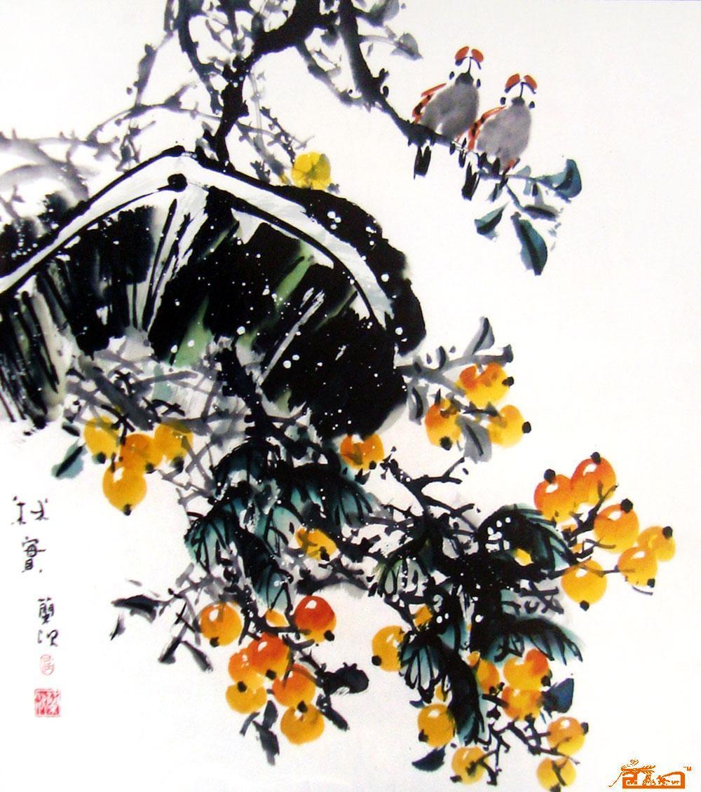 九鼎艺术精品-枇杷麻雀-淘宝-名人字画-中国书画服务